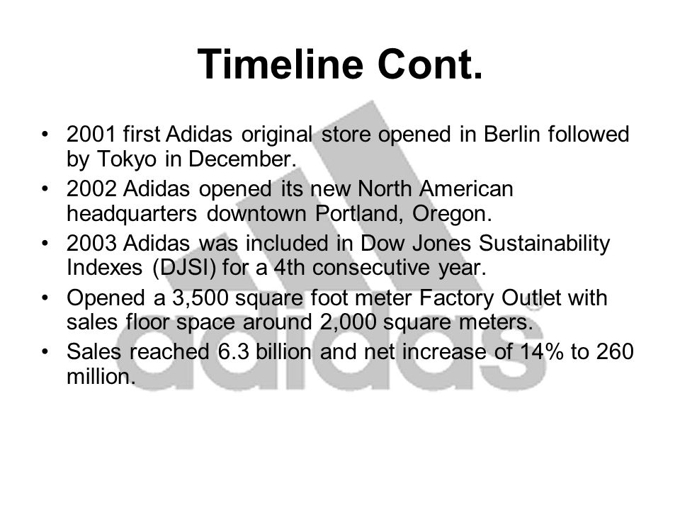 Adidas Subdivisions Adidas –Main part of company –Different Divisions Sport Performance –Technologically oriented (mi innovation center) Sport Heritage –Original and past inspired products Sport Style –Future stylish sportswear