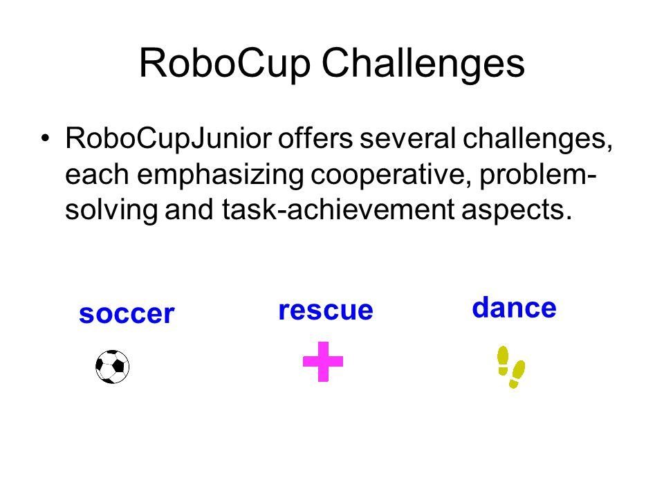 RoboCup Challenges RoboCupJunior offers several challenges, each emphasizing cooperative, problem- solving and task-achievement aspects.