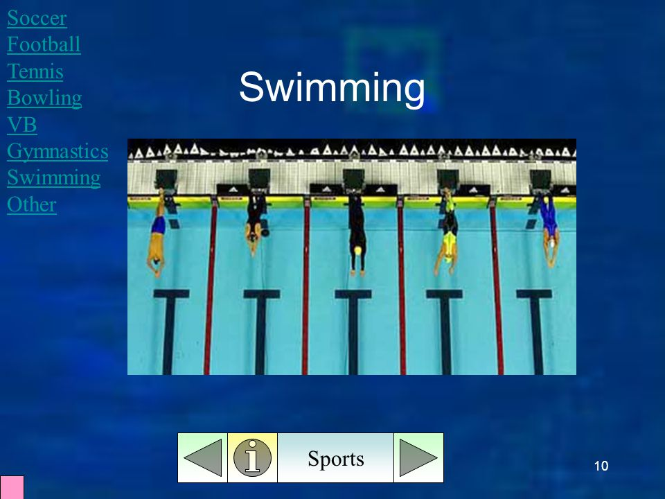 10 Swimming Sports Soccer Football Tennis Bowling VB Gymnastics Swimming Other