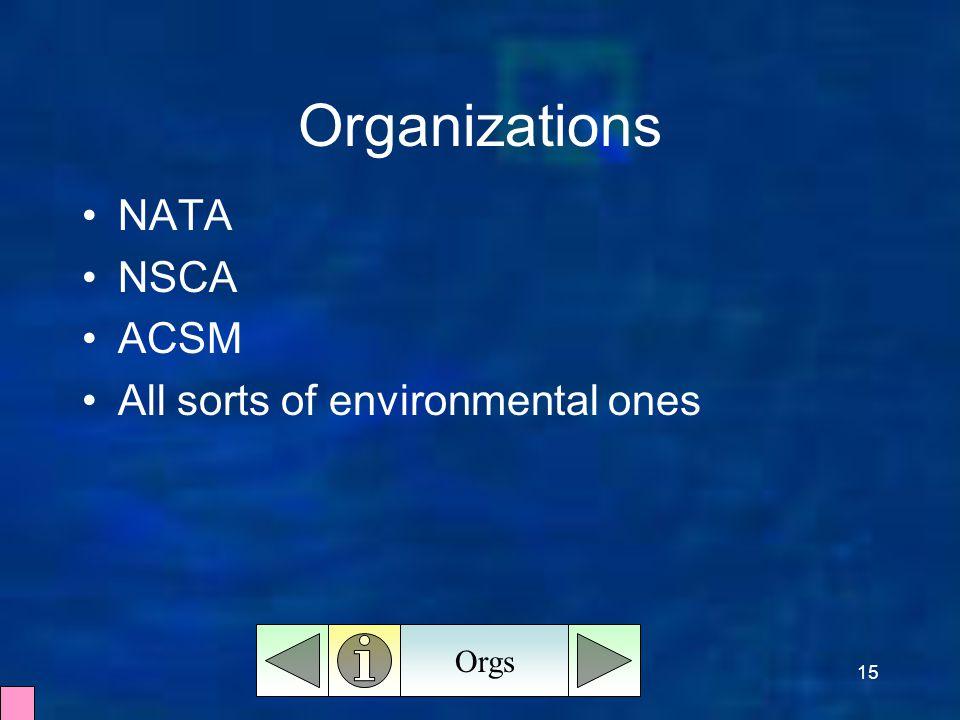 15 Organizations Orgs NATA NSCA ACSM All sorts of environmental ones