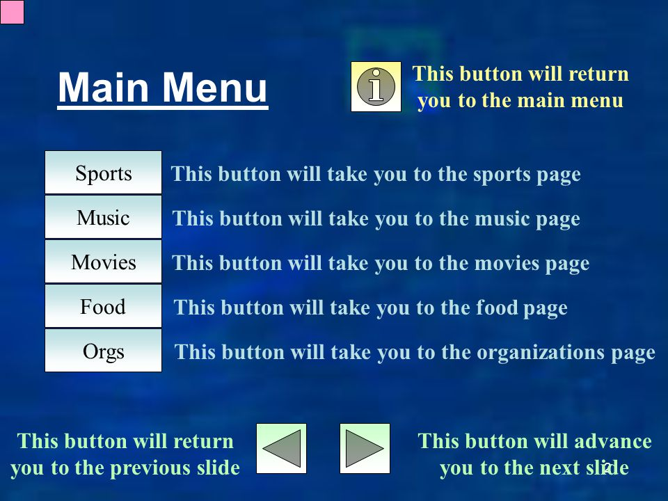 2 Main Menu Sports Music Movies Food Orgs This button will return you to the main menu This button will advance you to the next slide This button will return you to the previous slide This button will take you to the sports page This button will take you to the music page This button will take you to the movies page This button will take you to the food page This button will take you to the organizations page