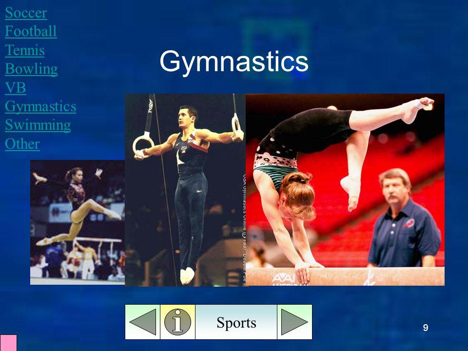 9 Gymnastics Sports Soccer Football Tennis Bowling VB Gymnastics Swimming Other