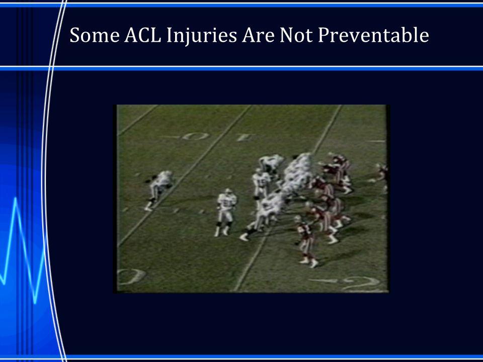 Prevention-Bracing Studies on ACL prevention with prophylactic bracing have shown no benefit –Hewson 1986 –Sitler et al 1990 –Albright et al 1994 –Lam 2002