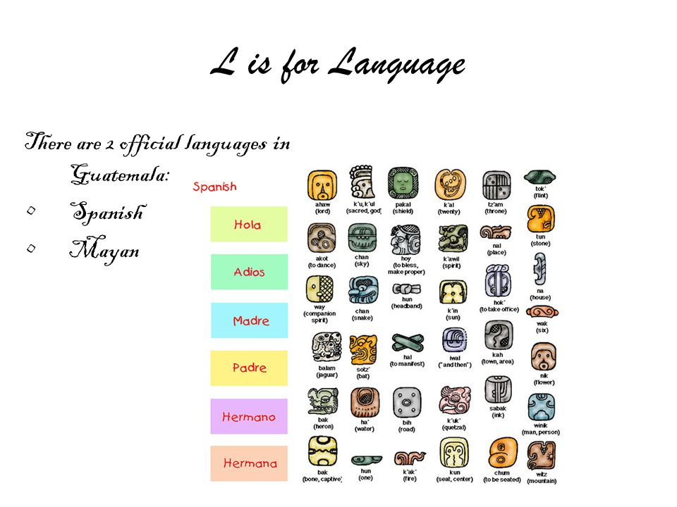 L is for Language There are 2 official languages in Guatemala: Spanish Mayan