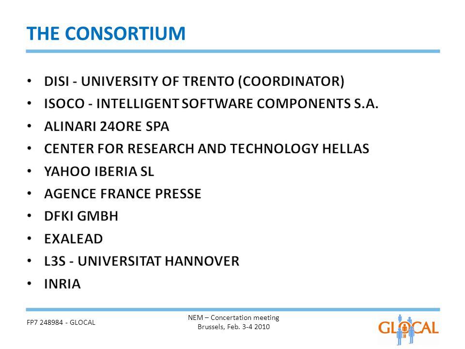 THE CONSORTIUM NEM – Concertation meeting Brussels, Feb. 3-4 2010 FP7 248984 - GLOCAL