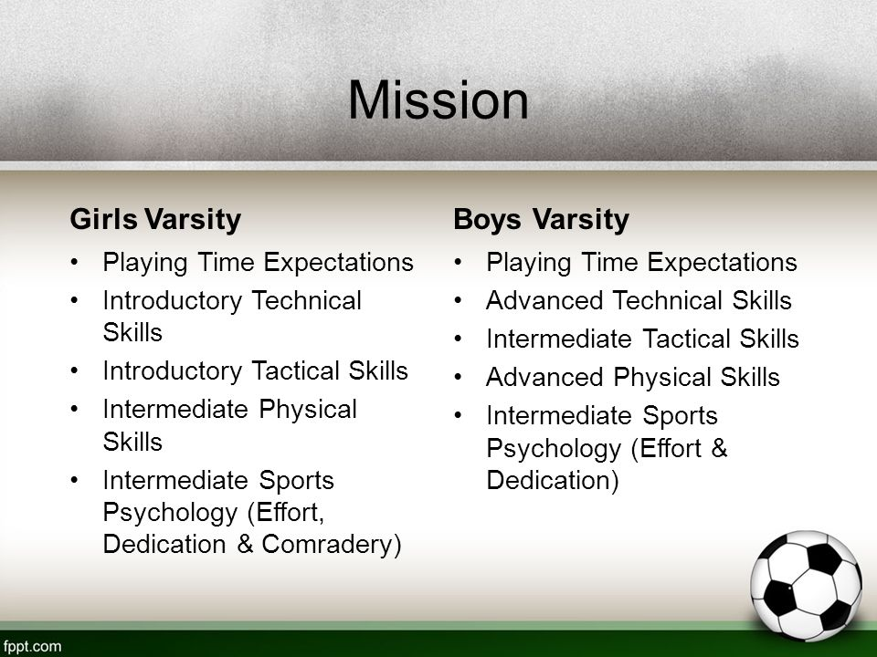 Mission Girls Varsity Playing Time Expectations Introductory Technical Skills Introductory Tactical Skills Intermediate Physical Skills Intermediate Sports Psychology (Effort, Dedication & Comradery) Boys Varsity Playing Time Expectations Advanced Technical Skills Intermediate Tactical Skills Advanced Physical Skills Intermediate Sports Psychology (Effort & Dedication)