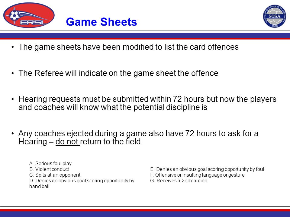 Game Sheets The game sheets have been modified to list the card offences The Referee will indicate on the game sheet the offence Hearing requests must