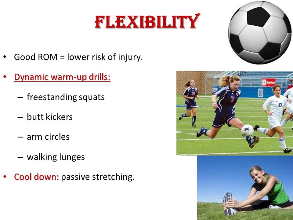 Flexibility Good ROM = lower risk of injury.