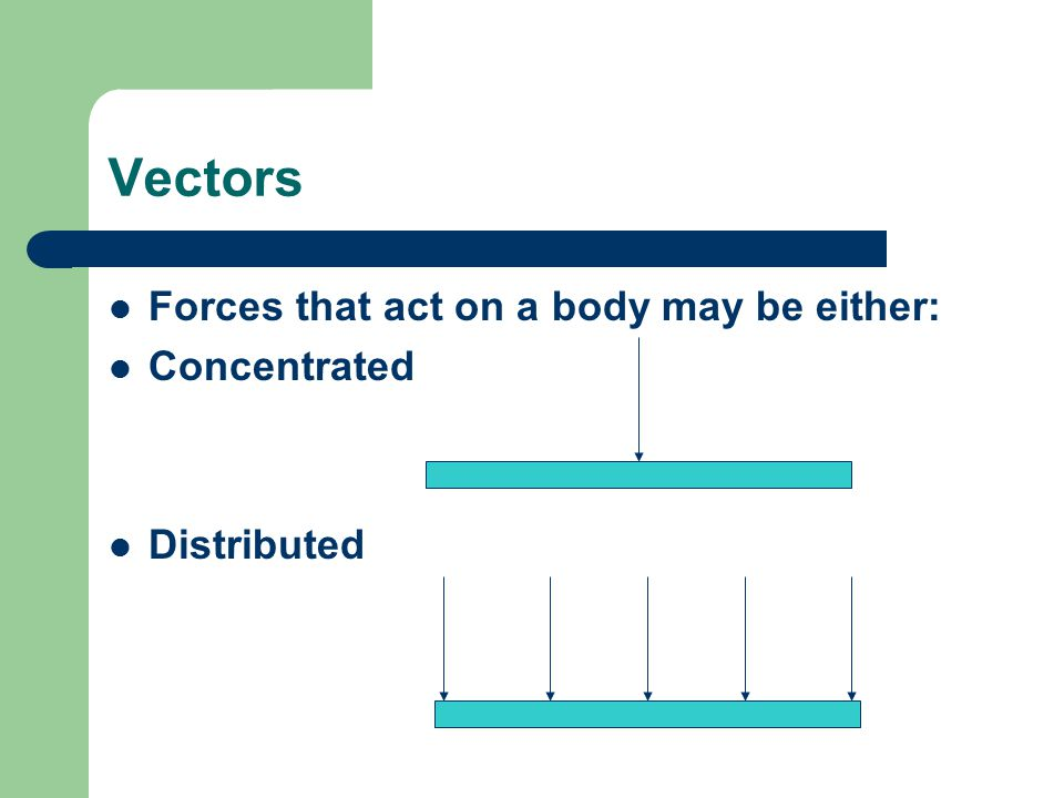 Vectors Forces that act on a body may be either: Concentrated Distributed