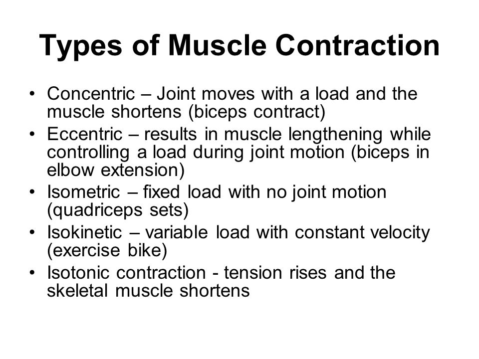 Types of Muscle Contraction Concentric – Joint moves with a load and the muscle shortens (biceps contract) Eccentric – results in muscle lengthening while controlling a load during joint motion (biceps in elbow extension) Isometric – fixed load with no joint motion (quadriceps sets) Isokinetic – variable load with constant velocity (exercise bike) Isotonic contraction - tension rises and the skeletal muscle shortens