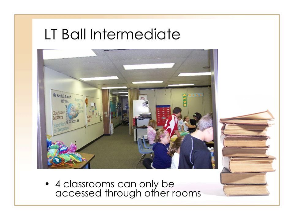 LT Ball Intermediate 4 classrooms can only be accessed through other rooms