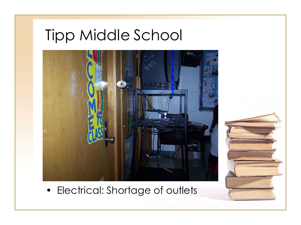 Tipp Middle School Electrical: Shortage of outlets