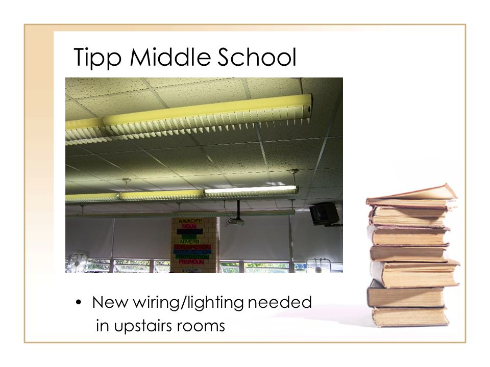 Tipp Middle School New wiring/lighting needed in upstairs rooms