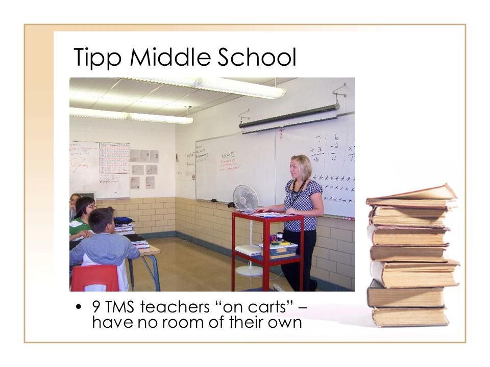 Tipp Middle School 9 TMS teachers on carts – have no room of their own