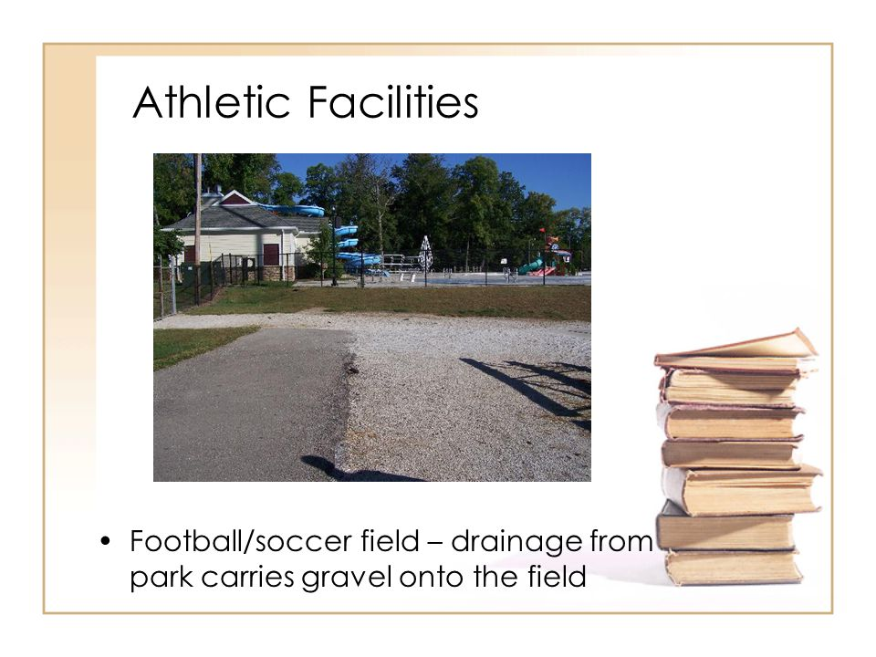 Athletic Facilities Football/soccer field – drainage from park carries gravel onto the field