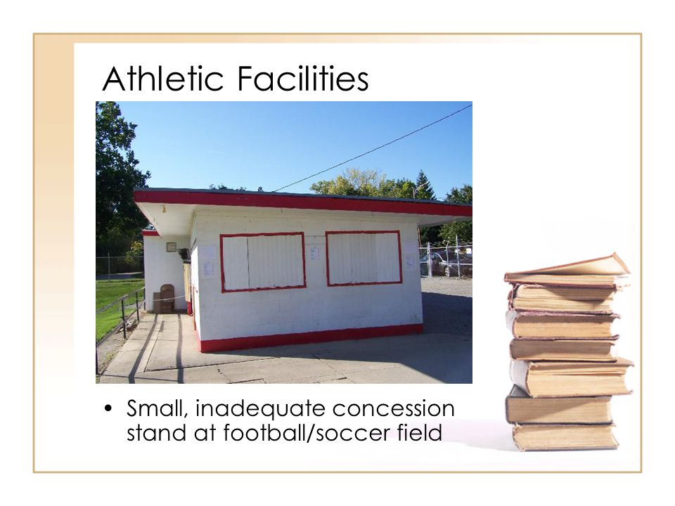 Athletic Facilities Small, inadequate concession stand at football/soccer field