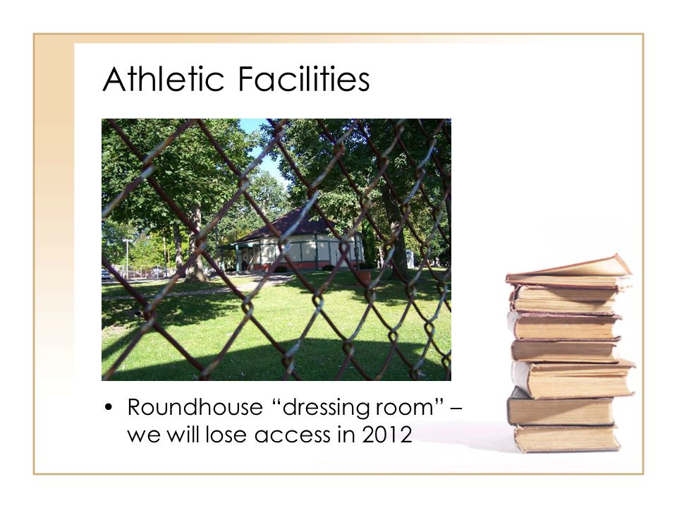 Athletic Facilities Roundhouse dressing room – we will lose access in 2012