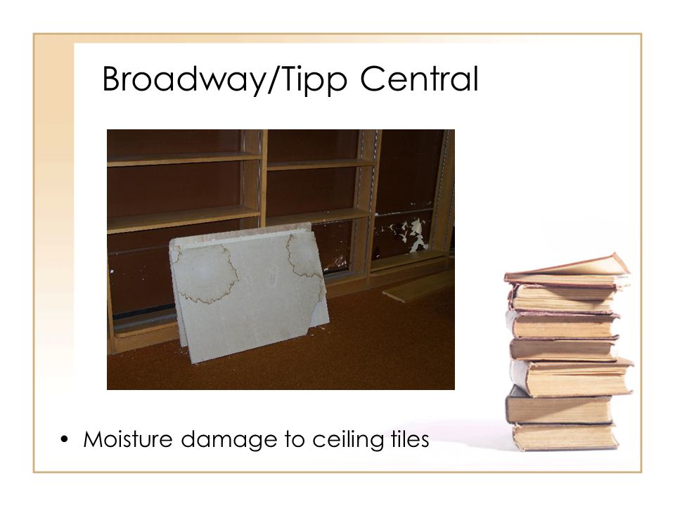 Broadway/Tipp Central Moisture damage to ceiling tiles