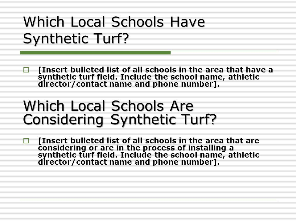 Which Local Schools Have Synthetic Turf.