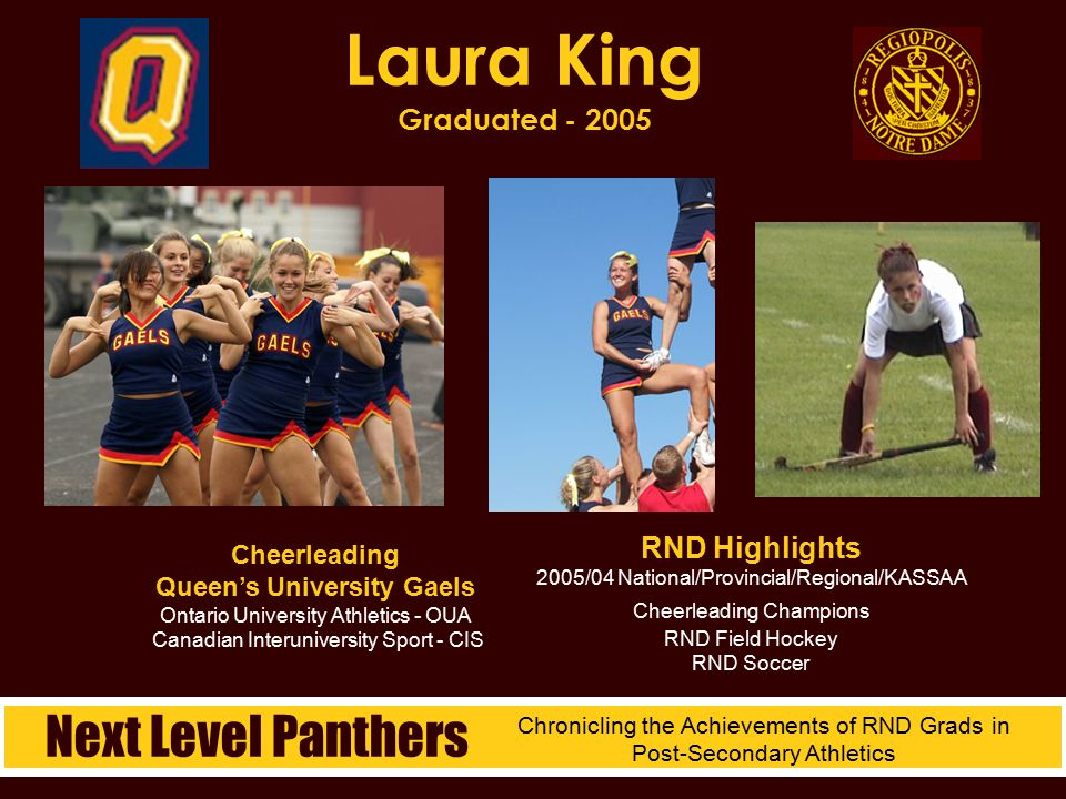 Cheerleading Queen's University Gaels Ontario University Athletics - OUA Canadian Interuniversity Sport - CIS Laura King Graduated - 2005 RND Highligh