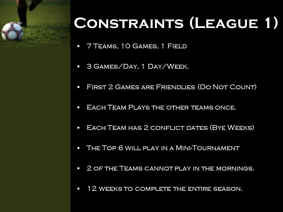 Constraints (League 2) 6 Teams, 10 Games, 1 Field 3 Games a Day, 1 Day a Week Each team plays the other teams twice.