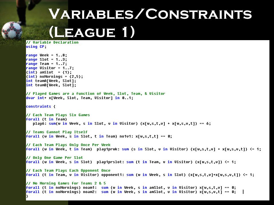 Variables/Constraints (League 2)