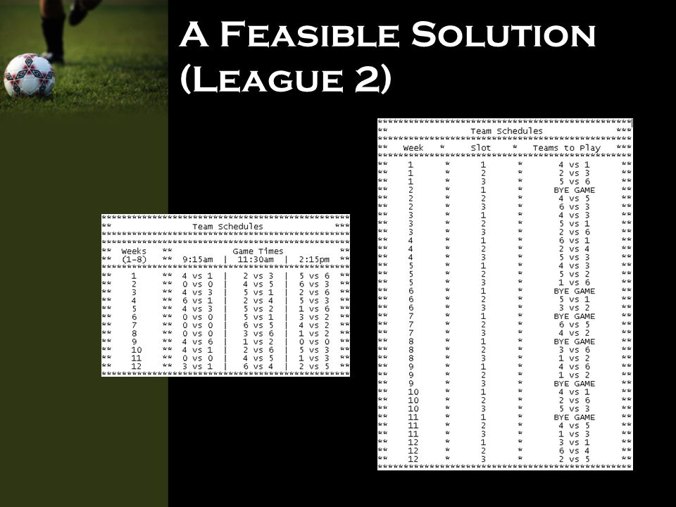 Value to Client Time efficiency - Saves hours and hours of manually planning a league schedule.