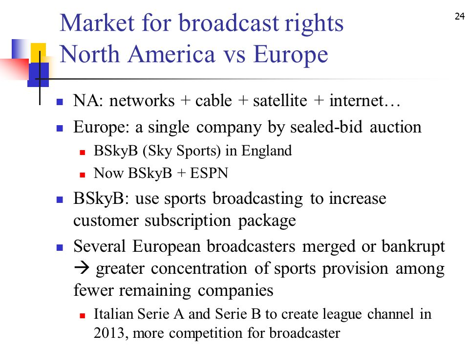 24 Market for broadcast rights North America vs Europe NA: networks + cable + satellite + internet… Europe: a single company by sealed-bid auction BSkyB (Sky Sports) in England Now BSkyB + ESPN BSkyB: use sports broadcasting to increase customer subscription package Several European broadcasters merged or bankrupt  greater concentration of sports provision among fewer remaining companies Italian Serie A and Serie B to create league channel in 2013, more competition for broadcaster