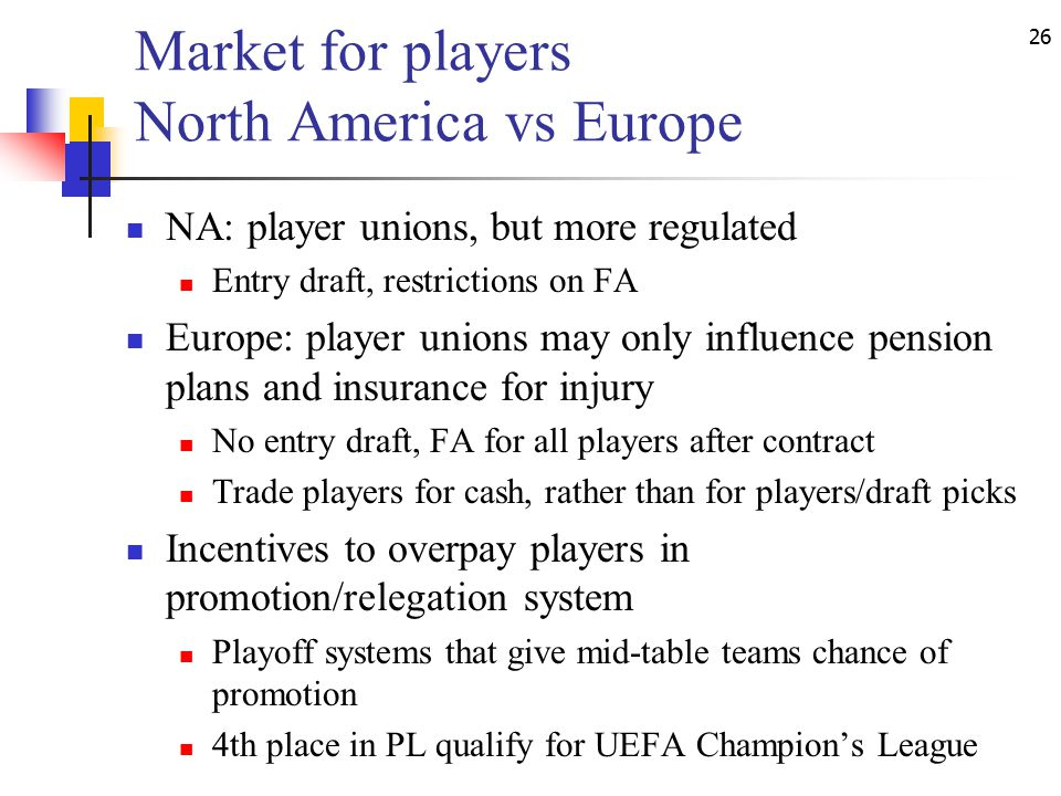 26 Market for players North America vs Europe NA: player unions, but more regulated Entry draft, restrictions on FA Europe: player unions may only influence pension plans and insurance for injury No entry draft, FA for all players after contract Trade players for cash, rather than for players/draft picks Incentives to overpay players in promotion/relegation system Playoff systems that give mid-table teams chance of promotion 4th place in PL qualify for UEFA Champion's League