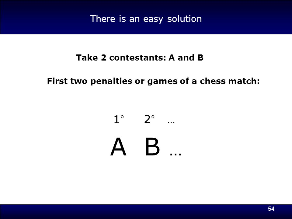 54 There is an easy solution Take 2 contestants: A and B First two penalties or games of a chess match: 1 º 2 º … A B …