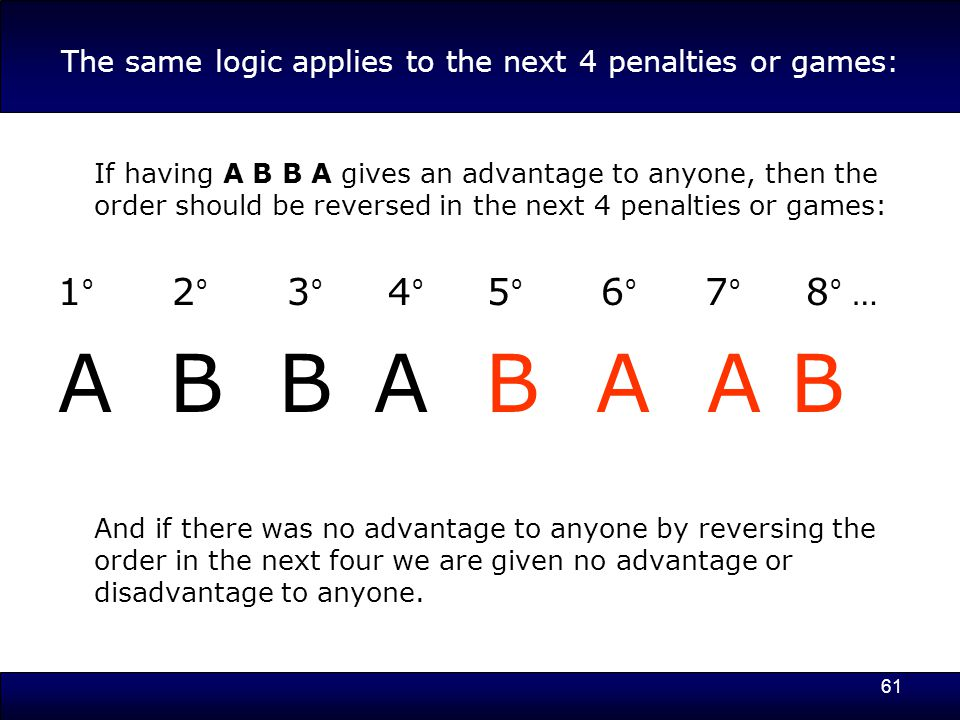 61 The same logic applies to the next 4 penalties or games: If having A B B A gives an advantage to anyone, then the order should be reversed in the next 4 penalties or games: 1 º 2 º 3 º 4 º 5 º 6 º 7 º 8 º … A B B A B A A B And if there was no advantage to anyone by reversing the order in the next four we are given no advantage or disadvantage to anyone.