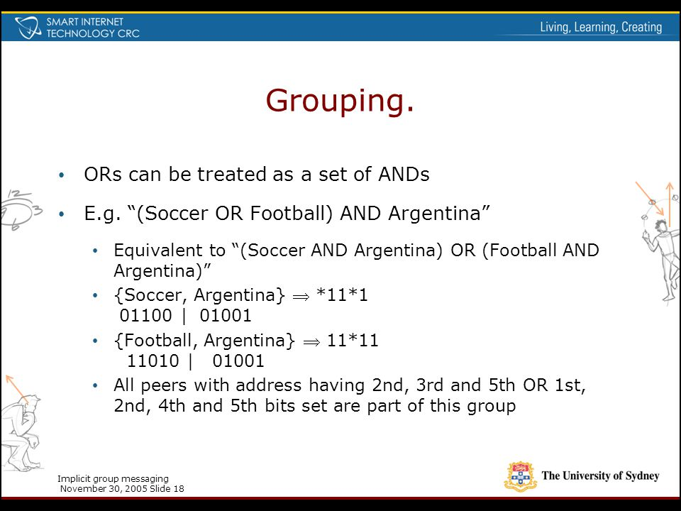 """Implicit group messaging November 30, 2005 Slide 18 Grouping. ORs can be treated as a set of ANDs E.g. """"(Soccer OR Football) AND Argentina"""" Equivalent"""