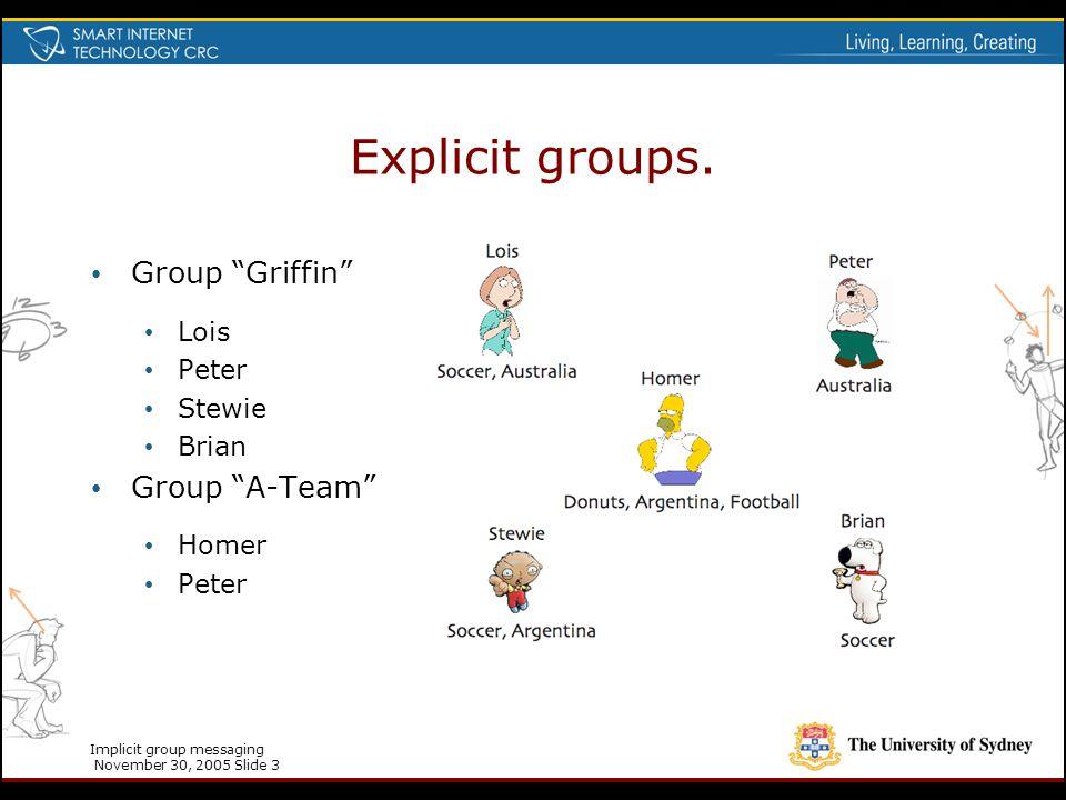 "Implicit group messaging November 30, 2005 Slide 3 Explicit groups. Group ""Griffin"" Lois Peter Stewie Brian Group ""A-Team"" Homer Peter"