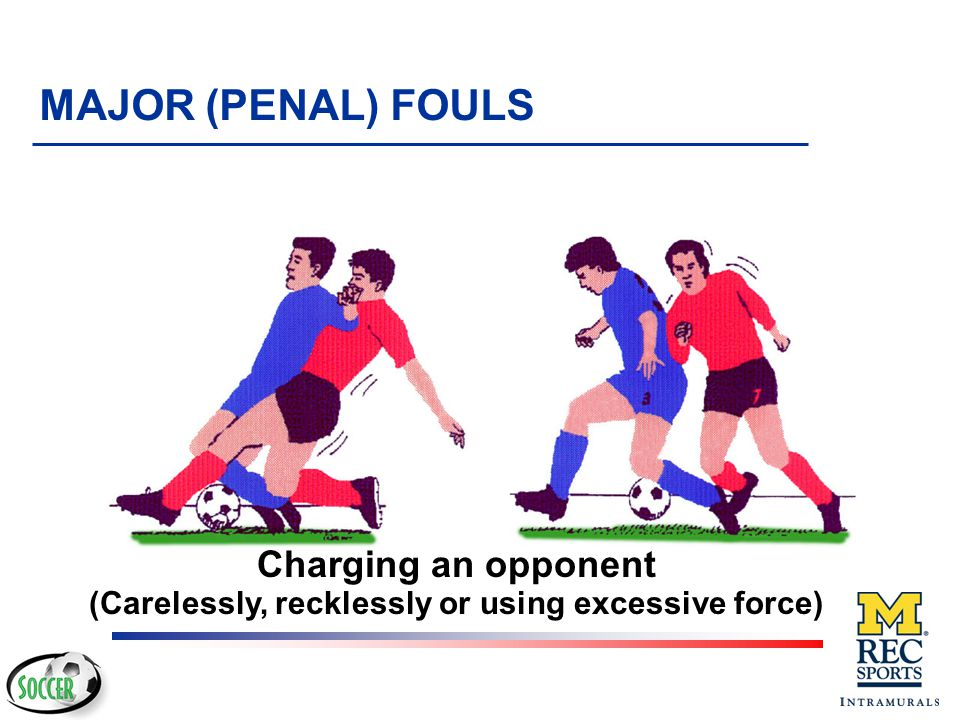 Charging an opponent (carelessly, recklessly or using excessive force) MAJOR (PENAL) FOULS