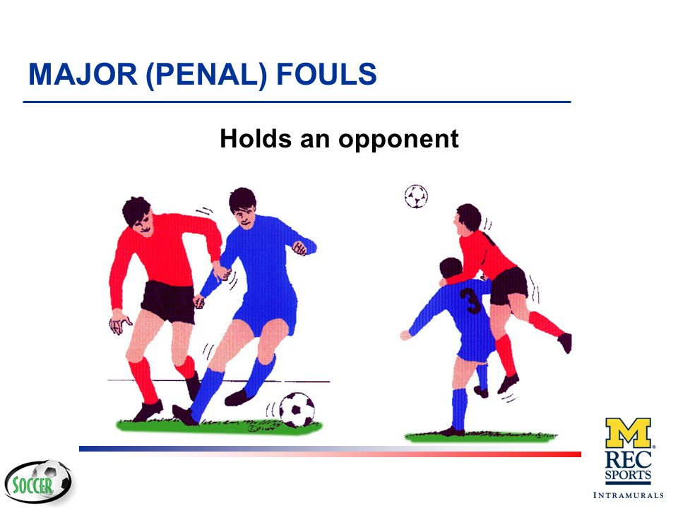 ¼ Holds an opponent ½ Spits at an opponent ¾ Handles the ball deliberately (except for the goalkeeper within his/her own penalty area) ¿ Tackles an op