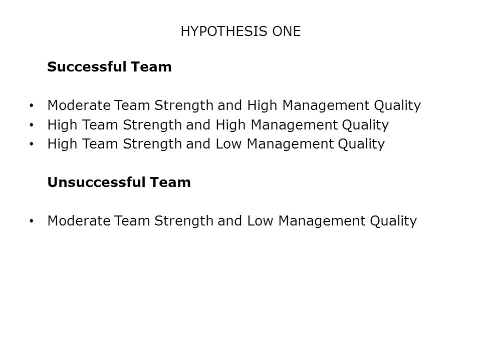 HYPOTHESIS ONE Successful Team Moderate Team Strength and High Management Quality High Team Strength and High Management Quality High Team Strength and Low Management Quality Unsuccessful Team Moderate Team Strength and Low Management Quality