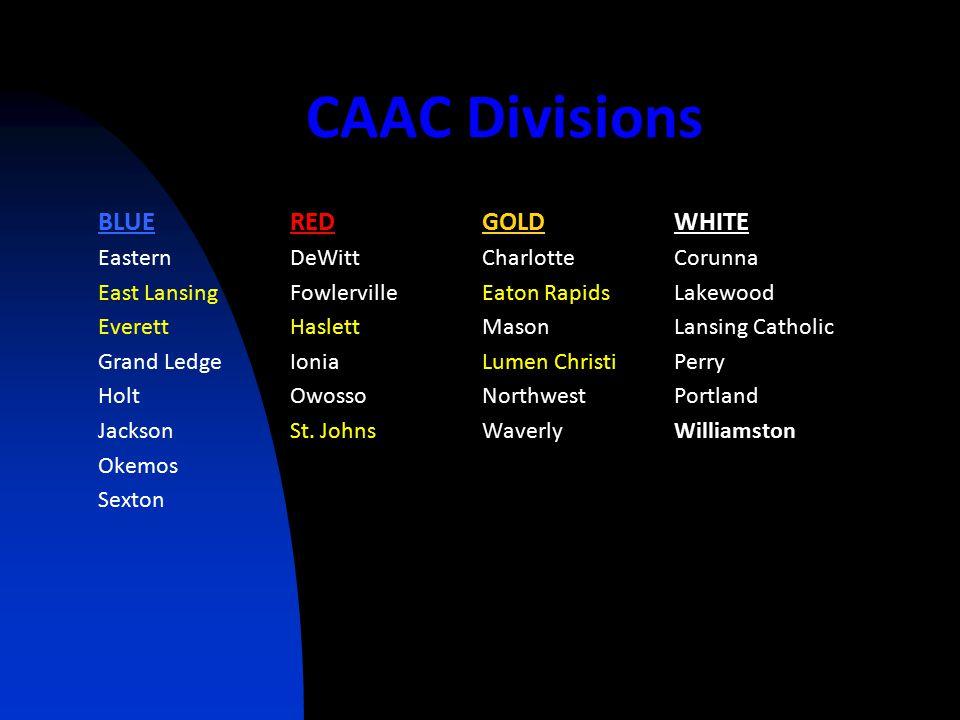CAAC Divisions BLUEREDGOLDWHITE EasternDeWittCharlotteCorunna East LansingFowlervilleEaton RapidsLakewood EverettHaslettMasonLansing Catholic Grand Ledge IoniaLumen ChristiPerry HoltOwossoNorthwestPortland JacksonSt.