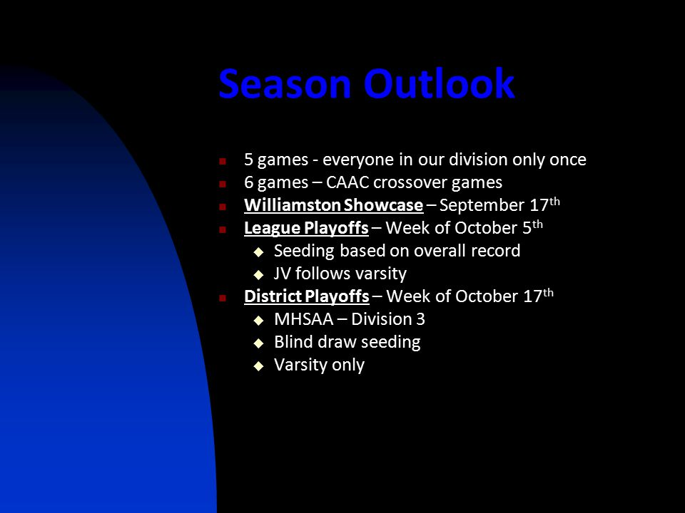 Season Outlook 5 games - everyone in our division only once 6 games – CAAC crossover games Williamston Showcase – September 17 th League Playoffs – We
