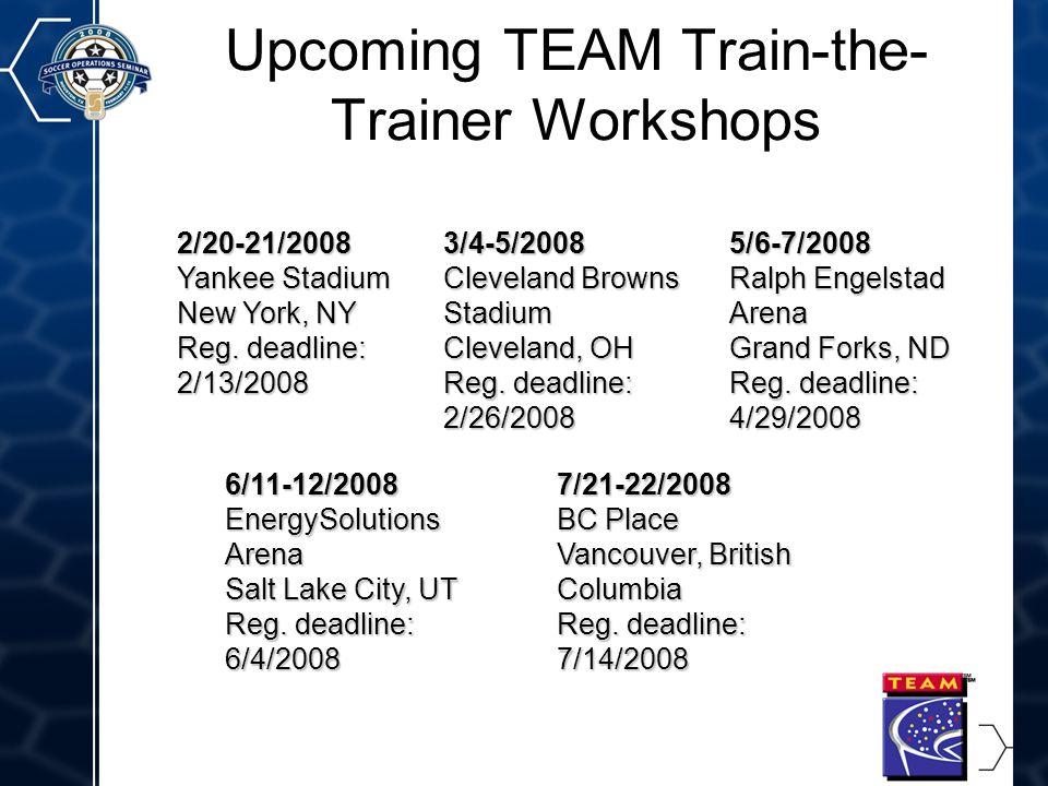 10 Upcoming TEAM Train-the- Trainer Workshops 2/20-21/2008 Yankee Stadium New York, NY Reg.