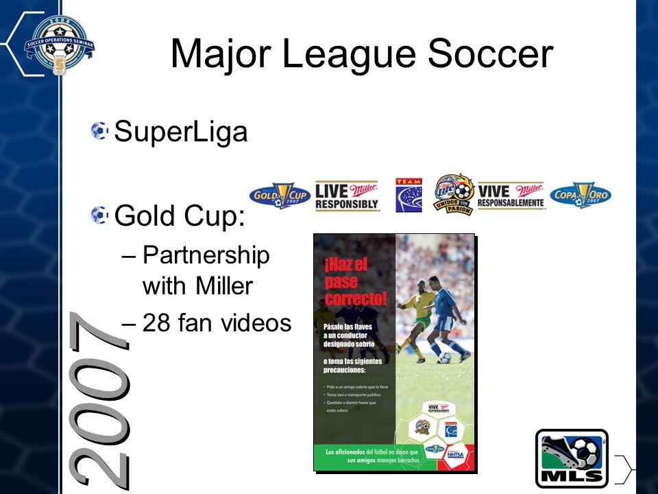 21 2007 Major League Soccer SuperLiga Gold Cup: –Partnership with Miller –28 fan videos