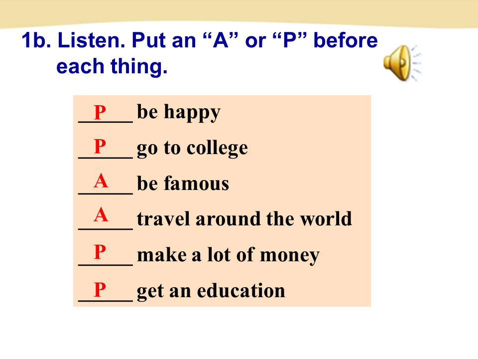 _____ be happy _____ go to college _____ be famous _____ travel around the world _____ make a lot of money _____ get an education 1b.