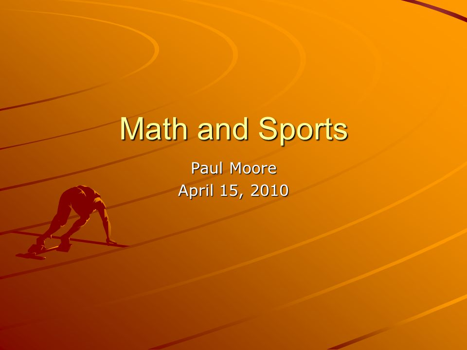 Math in Basketball (s x ): x = v 0 cosθt (s y ): y = y 0 + v 0 sinθ t + (-16)t 2 Don't know time… Solve x equation for t and plug into y t = x / (v 0 cosθ ) …into y equation… y = y 0 + v 0 sinθ [ x / (v 0 cosθ ) ] + (-16)[ x / (v 0 cosθ ) ] 2 y = y 0 + x tanθ + (-16)[ x 2 / (v 0 2 cos 2 θ ) ] We know initial y, initial x, final x, and our angle Now we have a usable equation!