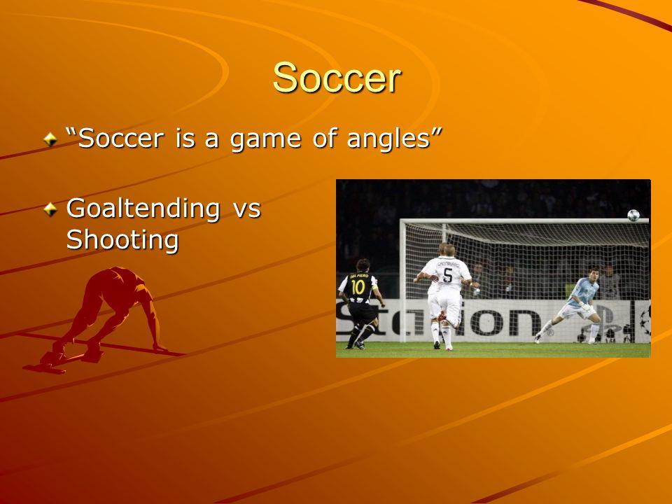 Soccer Soccer is a game of angles Goaltending vs Shooting