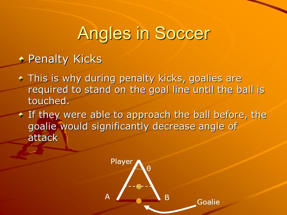Angles in Soccer Penalty Kicks This is why during penalty kicks, goalies are required to stand on the goal line until the ball is touched.