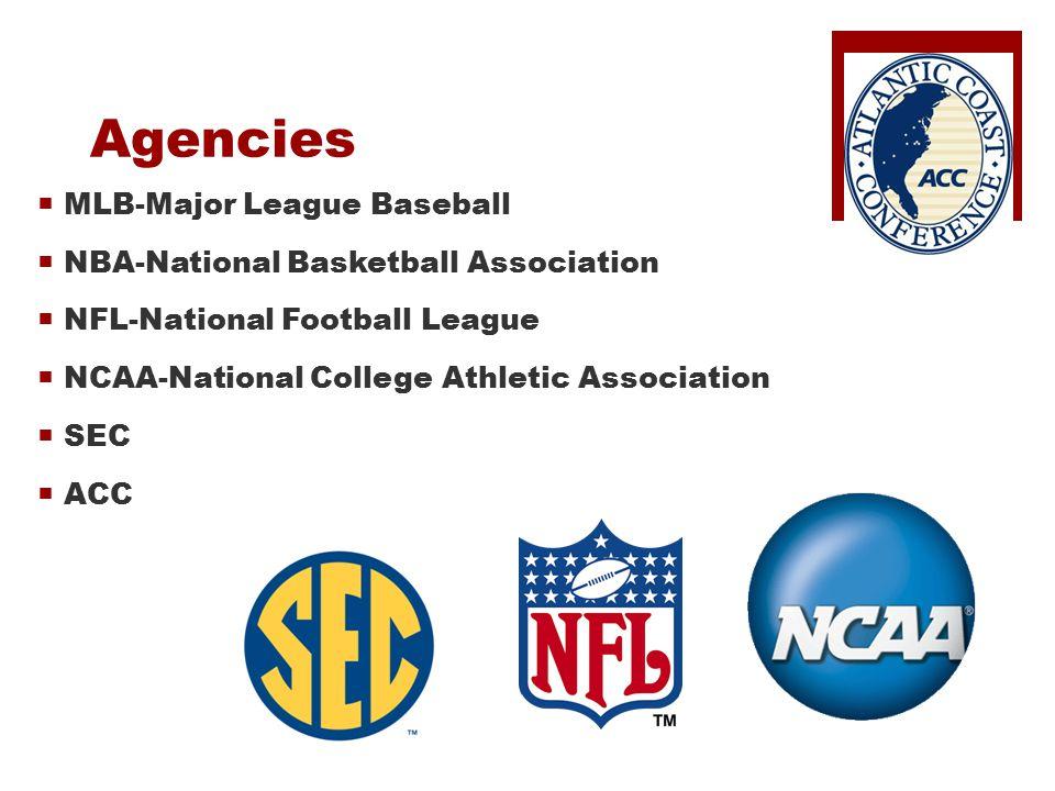 Agencies  MLB-Major League Baseball  NBA-National Basketball Association  NFL-National Football League  NCAA-National College Athletic Association  SEC  ACC
