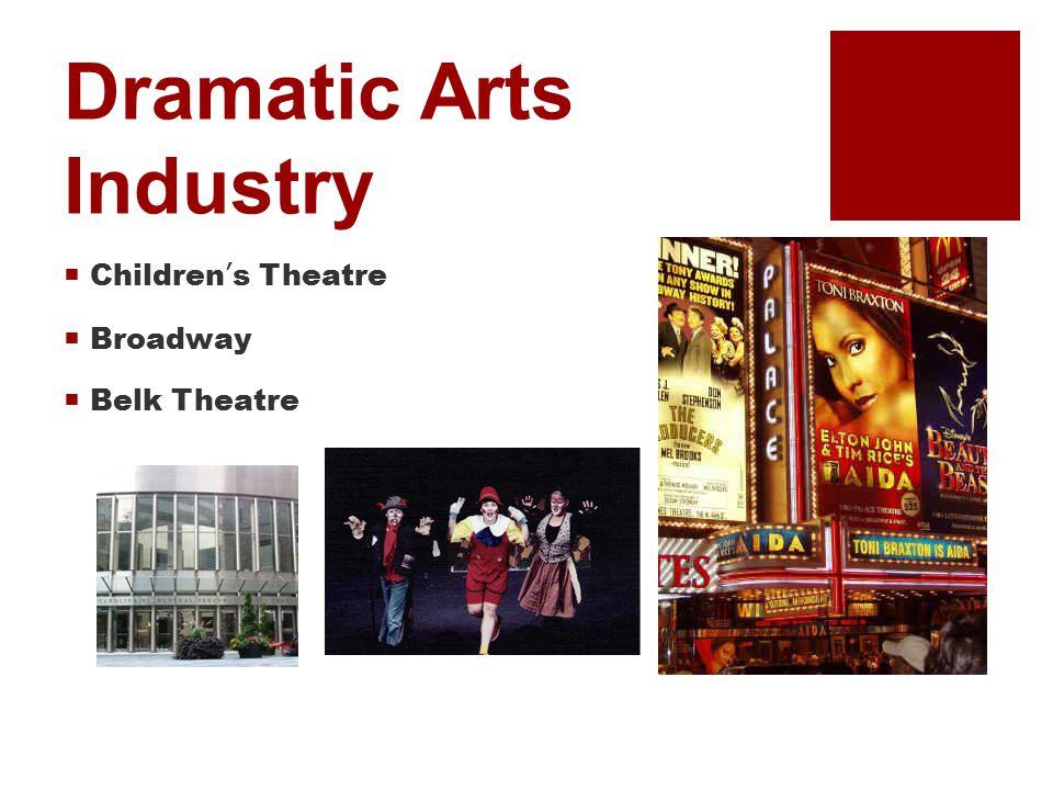 Dramatic Arts Industry  Children's Theatre  Broadway  Belk Theatre