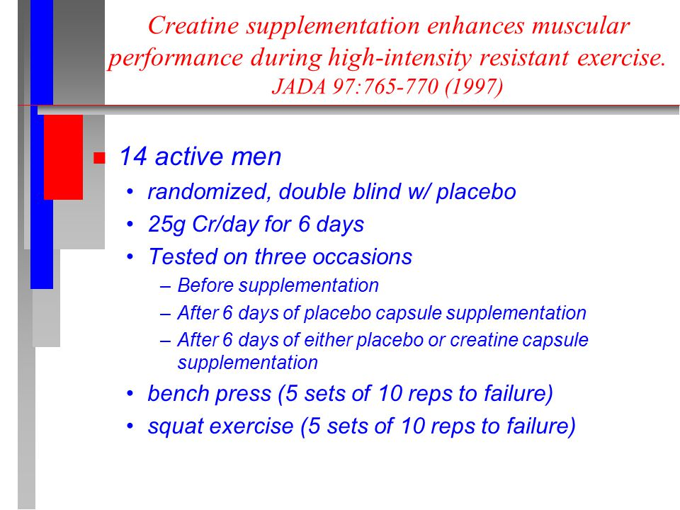 Creatine supplementation enhances muscular performance during high-intensity resistant exercise.