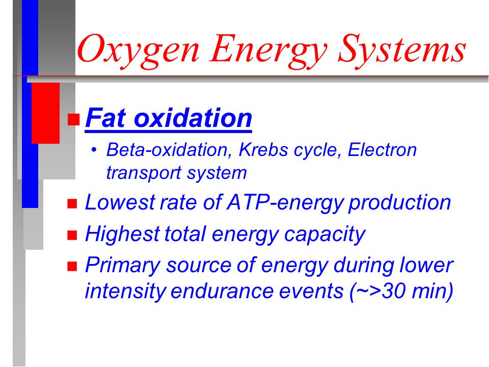 Oxygen Energy Systems n Fat oxidation Beta-oxidation, Krebs cycle, Electron transport system n Lowest rate of ATP-energy production n Highest total energy capacity n Primary source of energy during lower intensity endurance events (~>30 min)