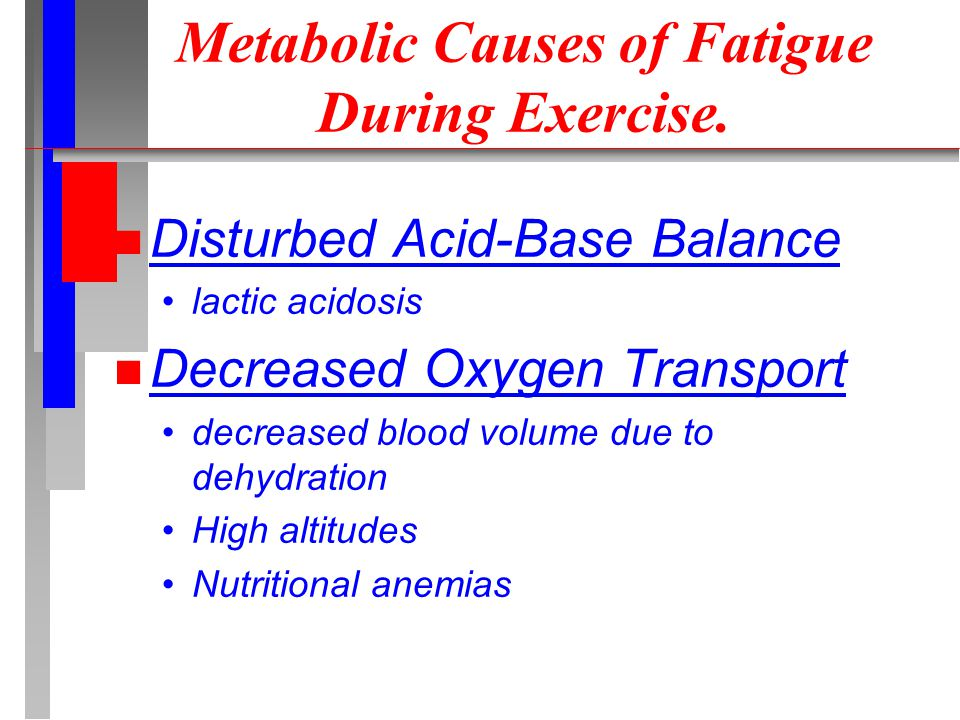 Metabolic Causes of Fatigue During Exercise.