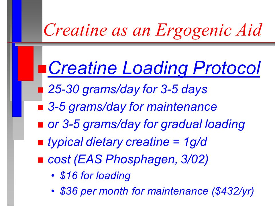 Creatine as an Ergogenic Aid n Creatine Loading Protocol n 25-30 grams/day for 3-5 days n 3-5 grams/day for maintenance n or 3-5 grams/day for gradual loading n typical dietary creatine = 1g/d n cost (EAS Phosphagen, 3/02) $16 for loading $36 per month for maintenance ($432/yr)
